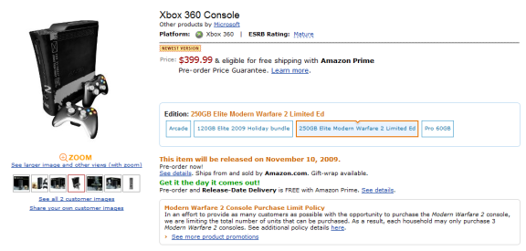Modern Warfare 2 Xbox 360 250GB on Amazon Modern Warfare 2 Limited Edition 250GB Xbox 360 Coming 11/10